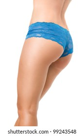 View of voluptuous female buttocks in blue panties