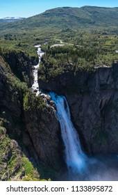 View of the Voringsfossen waterfall (Bjoreio river). National park Hardangervidda, EidFjord, Norway.