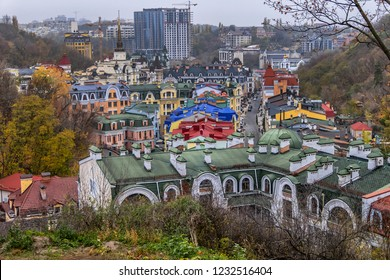 View of Vozdvizhenka street. Vozdvizhenka is a residential area built in early 2000s in heart of historical Kyiv. Houses are built in architectural styles popular in late 19th century. Kyiv, Ukraine.