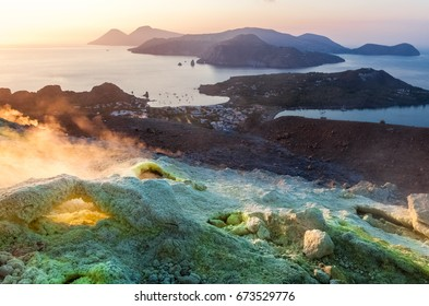 View from Vulcano island to Aeolian islands at sunset.  Lipari archipelago, Sicily, Italy