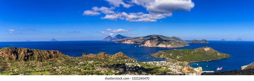 View from Vulcano to the other Aeolian Islands