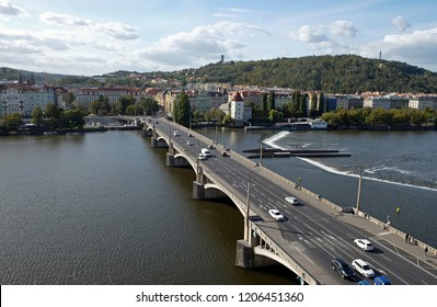 View of Vysehrad and Irasekov Bridge over the Vistula River from the Dancing House in Prague