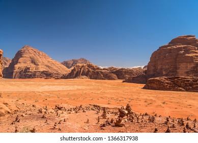 View of Wadi Rum from the rock piles, Jordan