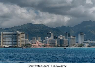 View of Waikiki Beach from a boat tour along the Honolulu Coast.