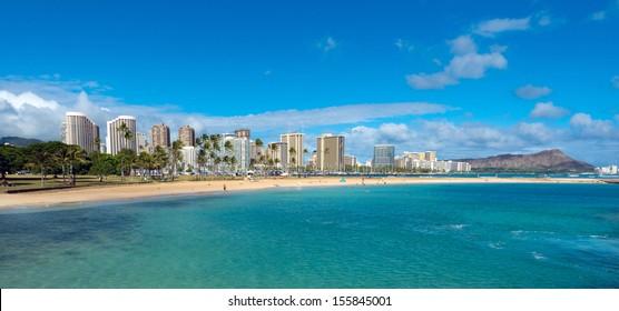 View of Waikiki and Diamond Head from Magic Island at Ala Moana Beach Park.