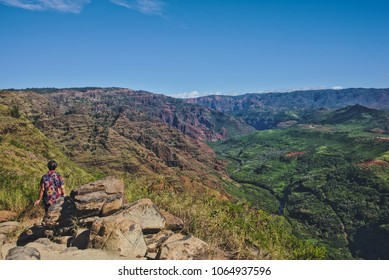 "A view of Waimea Canyon, in Kauai, Hawaii. ""Waimea"" means ""reddish water"" in Hawaiian."
