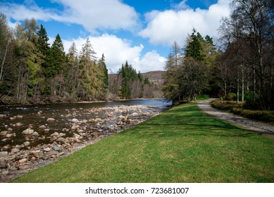 A view of walk path and Dee river in Balmoral Castle estate, Aberdeenshire, Scotland
