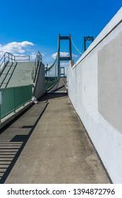 A view of a walkway on the Narrow Bridge in Tacoma, Washington.
