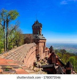 View from the wall of the Haut-Koenigsbourg castle ( Château du Haut-Kœnigsbourg ) over the Alsatian panorama and vineyards up to the Black Forest - Shutterstock ID 1780073546