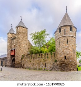 View at the wall and old gate (Helpoort) to Maastricht, Netherlands