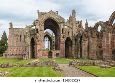 View at wall and ruins of Melrose abbey in Scottish borders