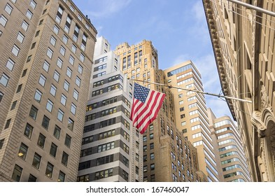 View of Wall Street,the financial district of New York