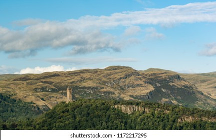 A view of Wallace Monument from Stirling Castle in Scotland.