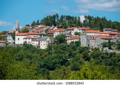View of the walled town of Stanjel, Slovenia