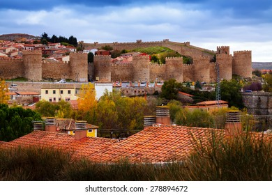 view of the Walls of Avila in autumn.  Spain