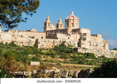 View to the walls and buildings of Malta's historical old capital Mdina.