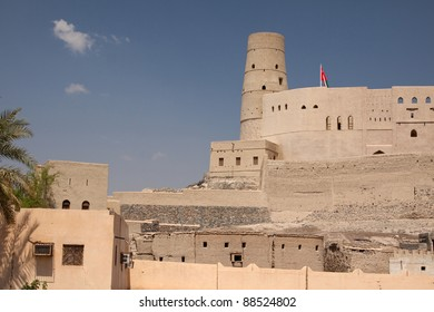 A view of the walls and keep of Bahla fort in the Sultanate of Oman
