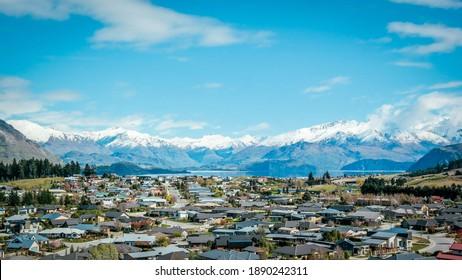 View of Wanaka from Mount Iron, New Zealand