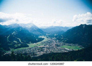 view from wank to garmisch-partenkirchen bavaria, germany
