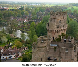 A view from the Warwick Castle, the turret and town of Warwick
