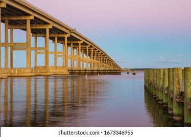 View of the Washington Baum Bridge over the Roanoke Sound at sunrise in Manteo, North Carolina on the Outer Banks.