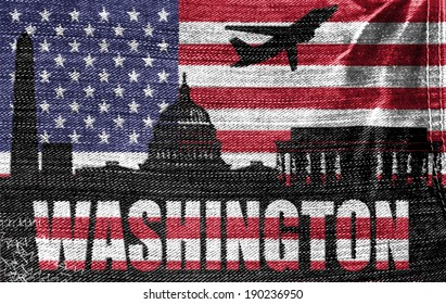 View of Washington City on the American flag on the jeans texture