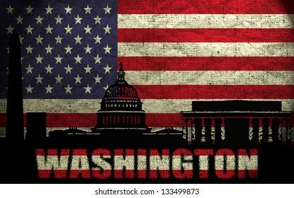 View of Washington City on the Grunge American Flag