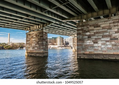 View of the Washington, DC cityscape from under a bridge at East Potomace park across the river to the waterfront and Washington Monument