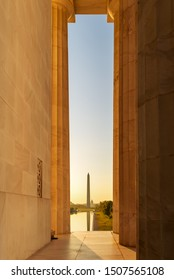 View of Washington Monument with Lincoln Memorial Architectural Column in foreground