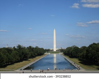 The view of the Washington Monument from the Lincoln Memorial in Washington, D.C.