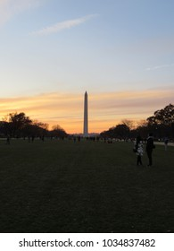 View of the Washington Monument at sunset in Washington, D.C.