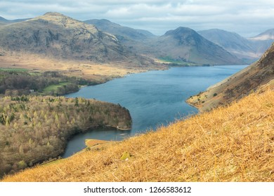 View of Wast Water Lake landscape from hill