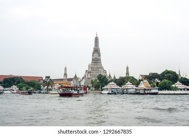 The view of Wat Arun main Prang and chao phraya river. Wat Arun or temple of the dawn is a famous temple in Bangkok, Thailand