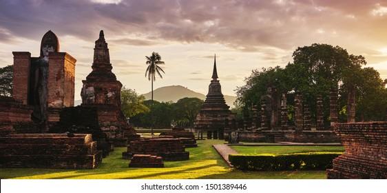 view of wat mahathat sukhothai historical park thailand