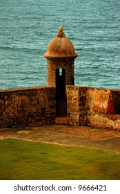 A view of a watch tower, Old San Juan, PR, USA. The 15 feet plus thick walls that surround and have protected the city for 500 years, still stand the passing of time.