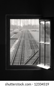 View from watch tower window onto Train tracks entering Birkenau Concentration Camp, Oswiecim, Poland
