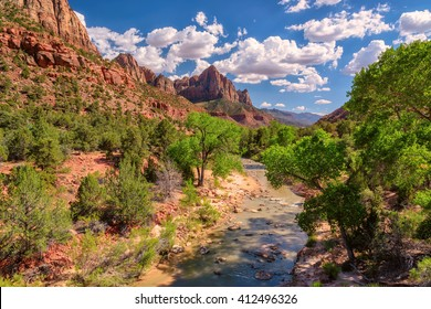 View of the Watchman mountain in Zion National park and the virgin river, Utah