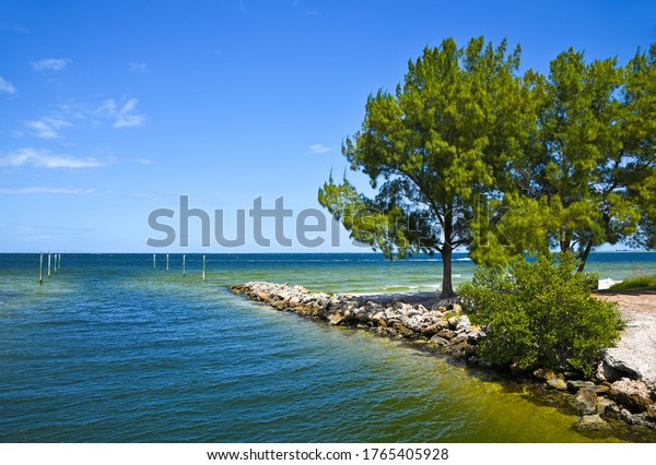 View of Water Canal Leading into Tampa Bay from Anna Maria Island, Florida