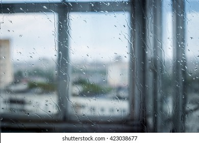 View of water drops on window glass