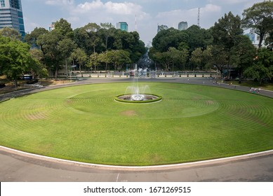 View of the water fountain and the entrance of the Independence Palace or Reunification Palace in Ho Chi Minh City, Vietnam. Panorama
