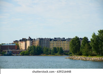 View from water to Helsinki in a bright summer day
