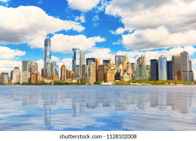 View from the water, from Hudson bay to Lower Manhattan. New York City Financial capital of America. USA.