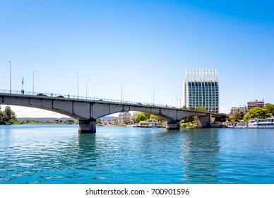 View from the water of Pedro de Valdivia Bridge in Valdivia, Chile
