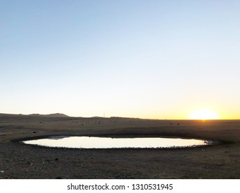 View of water pond and landscape in desert.