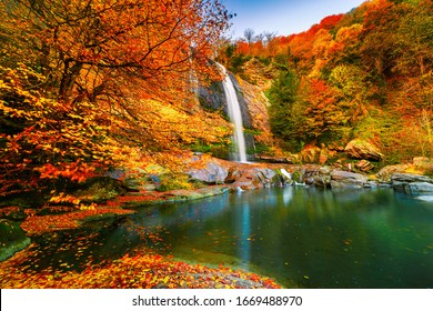 View of the waterfall in autumn. Waterfall in autumn colors. Suuctu Waterfalls, Bursa, Turkey.