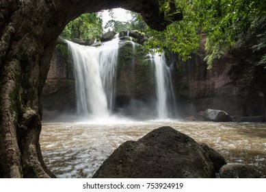 The view of the waterfall is a popular place for tourists. This waterfall is in Khao Yai National Park, Thailand.