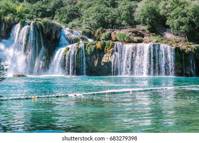 View of waterfall Skradinski Buk in Krka National Park one of the most famous national parks and visited by many tourists.Skradinski Buk:KRKA NATIONAL PARK,CROATIA,MAY 27,2017