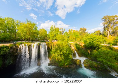 View of the waterfall Upper Duden in the city of Antalya.