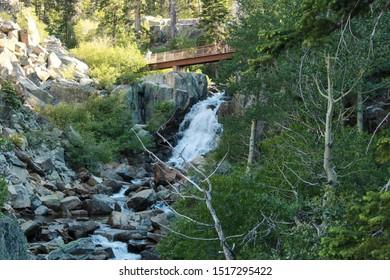 View of the waterfalls and the bridge in Eagle Creek, Tahoe, California