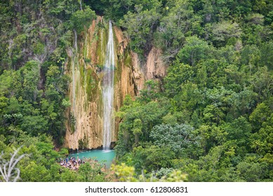 View of the waterfalls on the hike towards El Salto Del Limón in Samana, Dominican Republic.